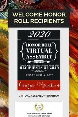Welcome Honor Roll Recipients