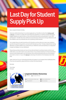 Last Day for Student Supply Pick Up
