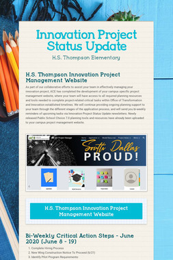 Innovation Project Status Update
