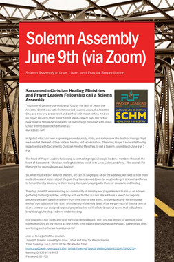Solemn Assembly June 9th (via Zoom)