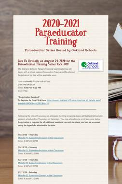 2020-2021 Paraeducator Training