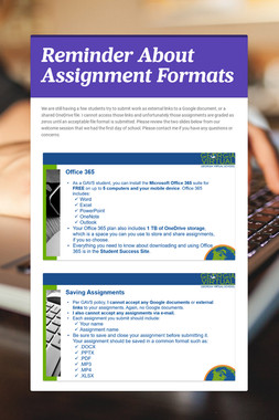 Reminder About Assignment Formats