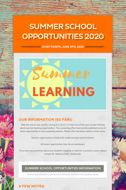 Summer School Opportunities 2020