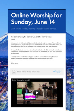 Online Worship for Sunday, June 14
