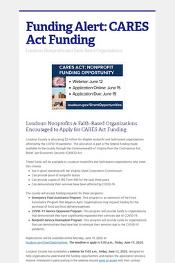Funding Alert: CARES Act Funding