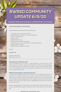 BWRSD Community Update 6/9/20