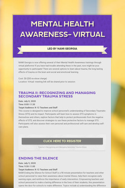 Mental Health Awareness- Virtual