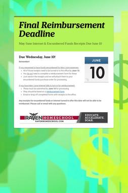 Final Reimbursement Deadline