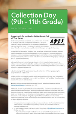 Collection Day (9th - 11th Grade)