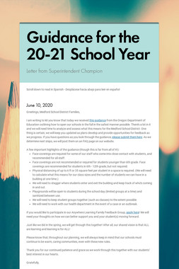 Guidance for the 20-21 School Year