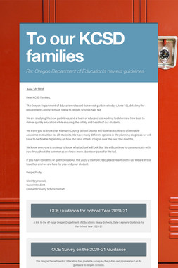 To our KCSD families