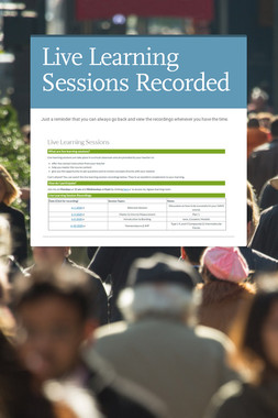 Live Learning Sessions Recorded