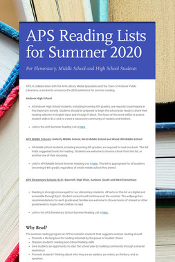 APS Reading Lists for Summer 2020