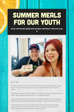 SUMMER MEALS FOR OUR YOUTH