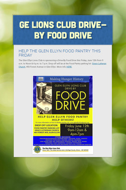 GE Lions Club Drive-By Food Drive