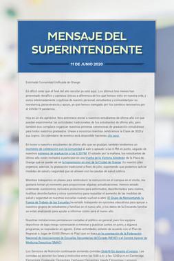 mensaje del superintendente