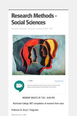 Research Methods - Social Sciences
