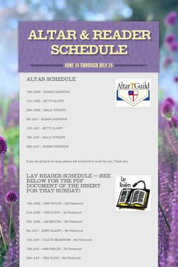 Altar & Reader Schedule