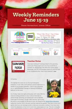 Weekly Reminders June 15-19