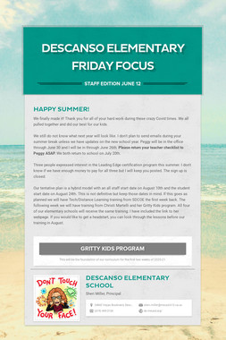 Descanso Elementary Friday Focus