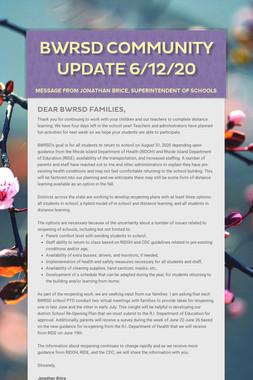 BWRSD Community Update 6/12/20