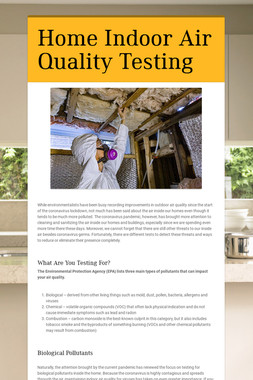 Home Indoor Air Quality Testing