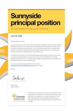 Sunnyside principal position