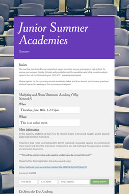 Junior Summer Academies