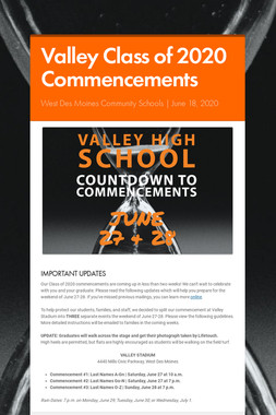 Valley Class of 2020 Commencements