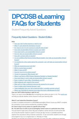 DPCDSB eLearning FAQs for Students