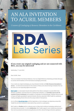 AN ALA INVITATION TO ACURIL MEMBERS