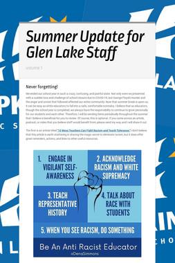 Summer Update for Glen Lake Staff