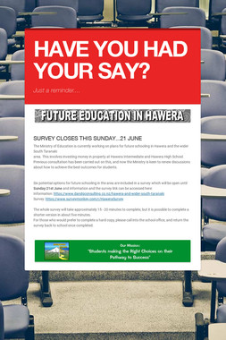 HAVE YOU HAD YOUR SAY?