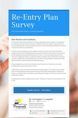 Re-Entry Plan Survey