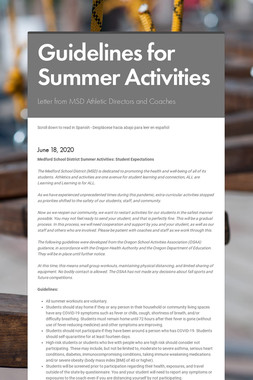 Guidelines for Summer Activities
