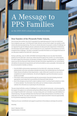 A Message to PPS Families