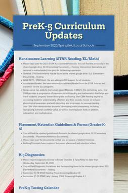 PreK-5 Curriculum Updates