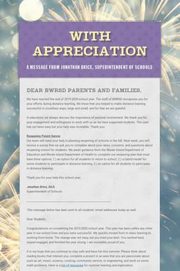 With Appreciation