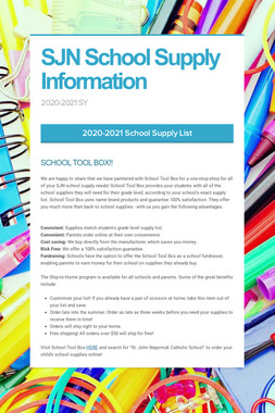 SJN School Supply Information