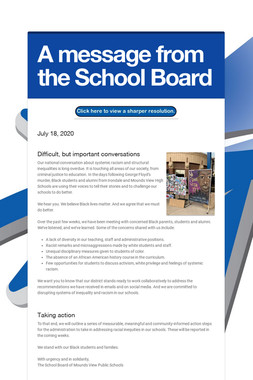 A message from the School Board