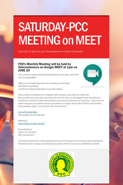 SATURDAY-PCC MEETING on MEET