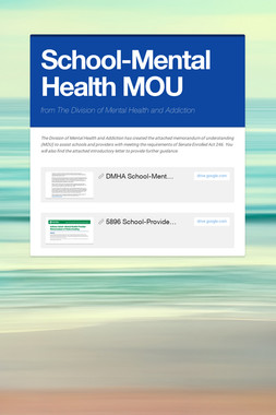 School-Mental Health MOU