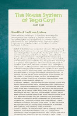 The House System at Tega Cay!
