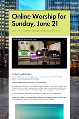 Online Worship for Sunday, June 21