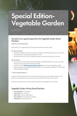 Special Edition- Vegetable Garden