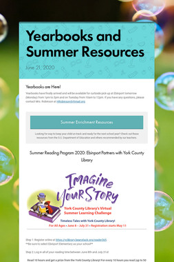 Yearbooks and Summer Resources