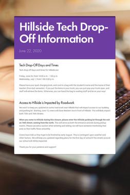 Hillside Tech Drop-Off Information