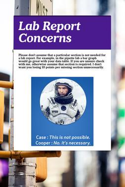 Lab Report Concerns