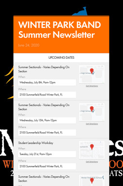 WINTER PARK BAND Summer Newsletter