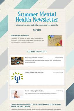 Summer Mental Health Newsletter